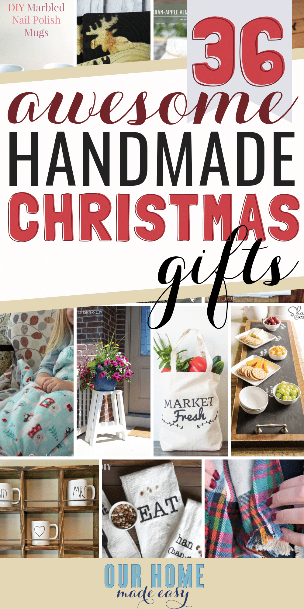 Save money this Christmas! Here are more than 35 easy homemade gifts for you to make! Check out all the DIY gifts here! #christmas #gifts #ourhomemadeeasy
