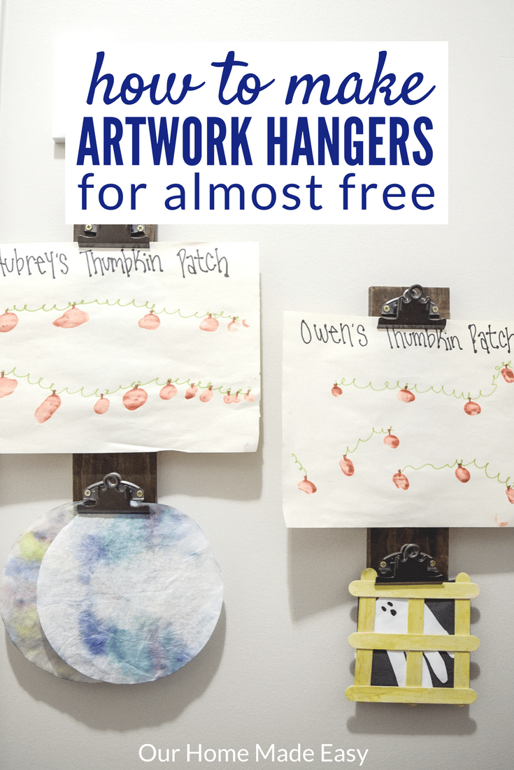 Make these artwork hangers to hold your little ones crafts-- change them out as new projects come in. This DIY is super cheap. Click to see how to make it!
