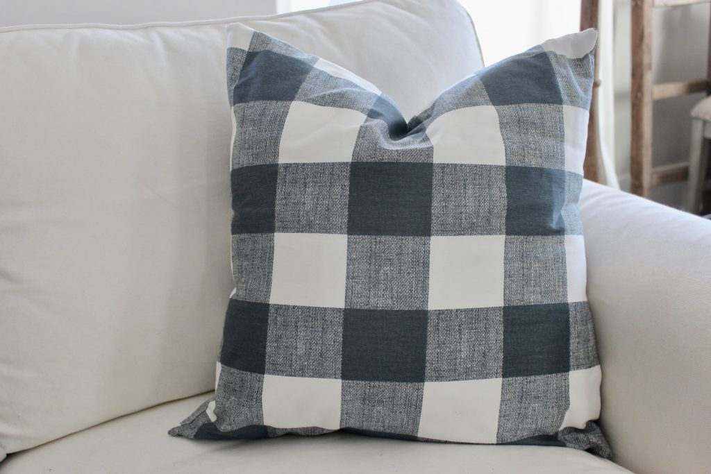 Blue and gray buffalo check pillow covers are a perfect farmhouse style gift