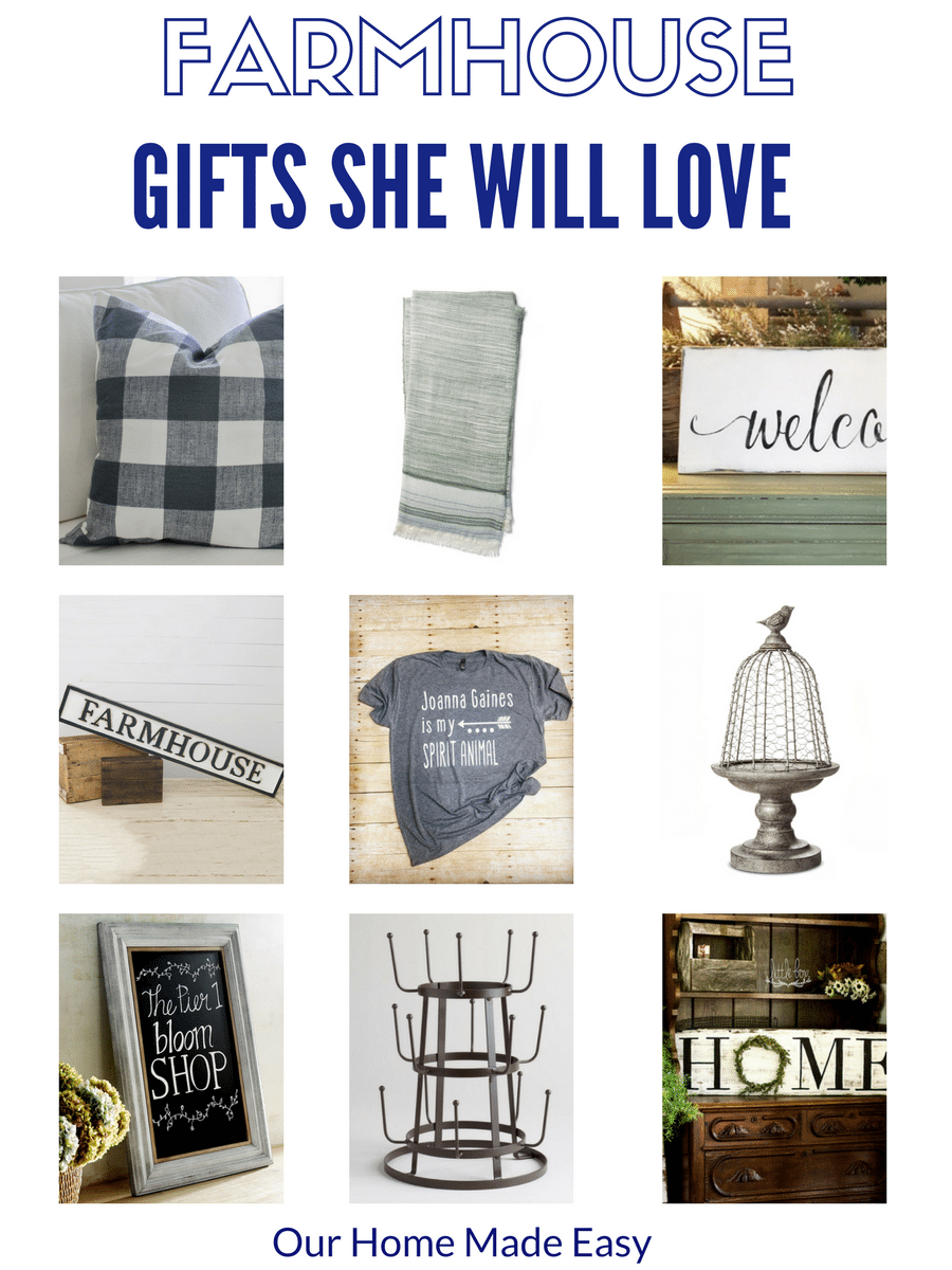 Know a farmhouse, chippy paint, shiplap fan? Pick up one of these beautiful gifts to make her day! Click to see the farmhouse gift guide here.
