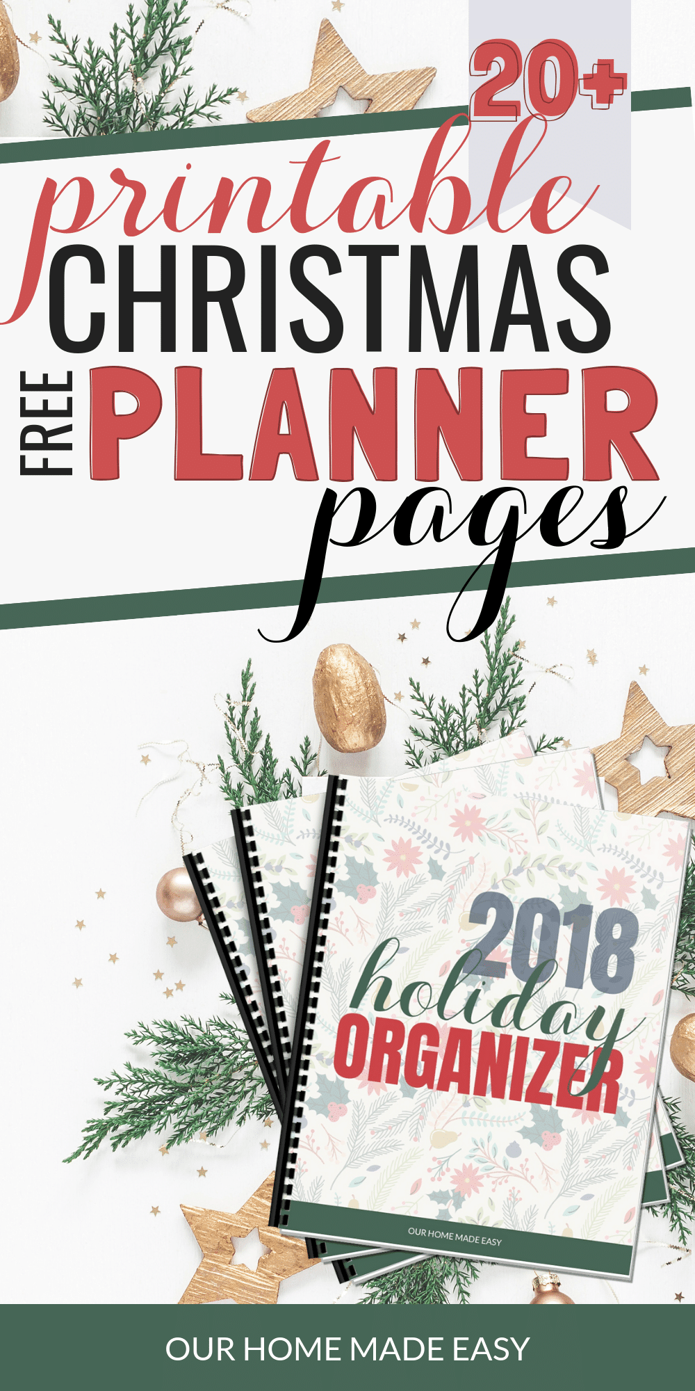 Download a free printable Christmas planner and holiday organizer. It's perfect for helping you stop feeling exhausted or overwhelmed! #christmas #organization #planner #holidays #happyholidays #xmas #familyholidays