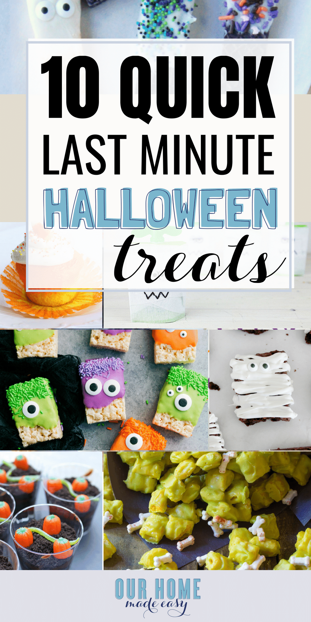 Ten quick last minute Halloween treats for a school party! These quick treats are so easy to whip together and the kids will love them!