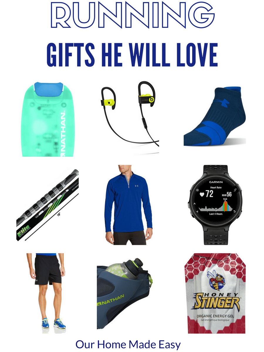 Know a guy who loves running? This runner gift guide was created for him! You'll find great basics, a splurge, and runner stocking stuffer ideas!