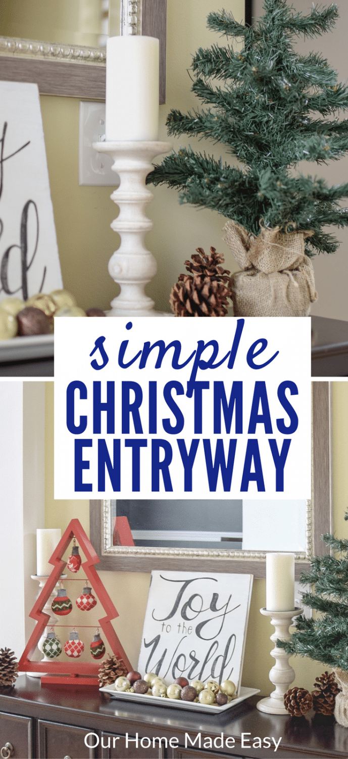 A beautiful simple Christmas Entryway & Foyer! Decorate using items you already have on hand to build a beautiful home! See the entryway here!