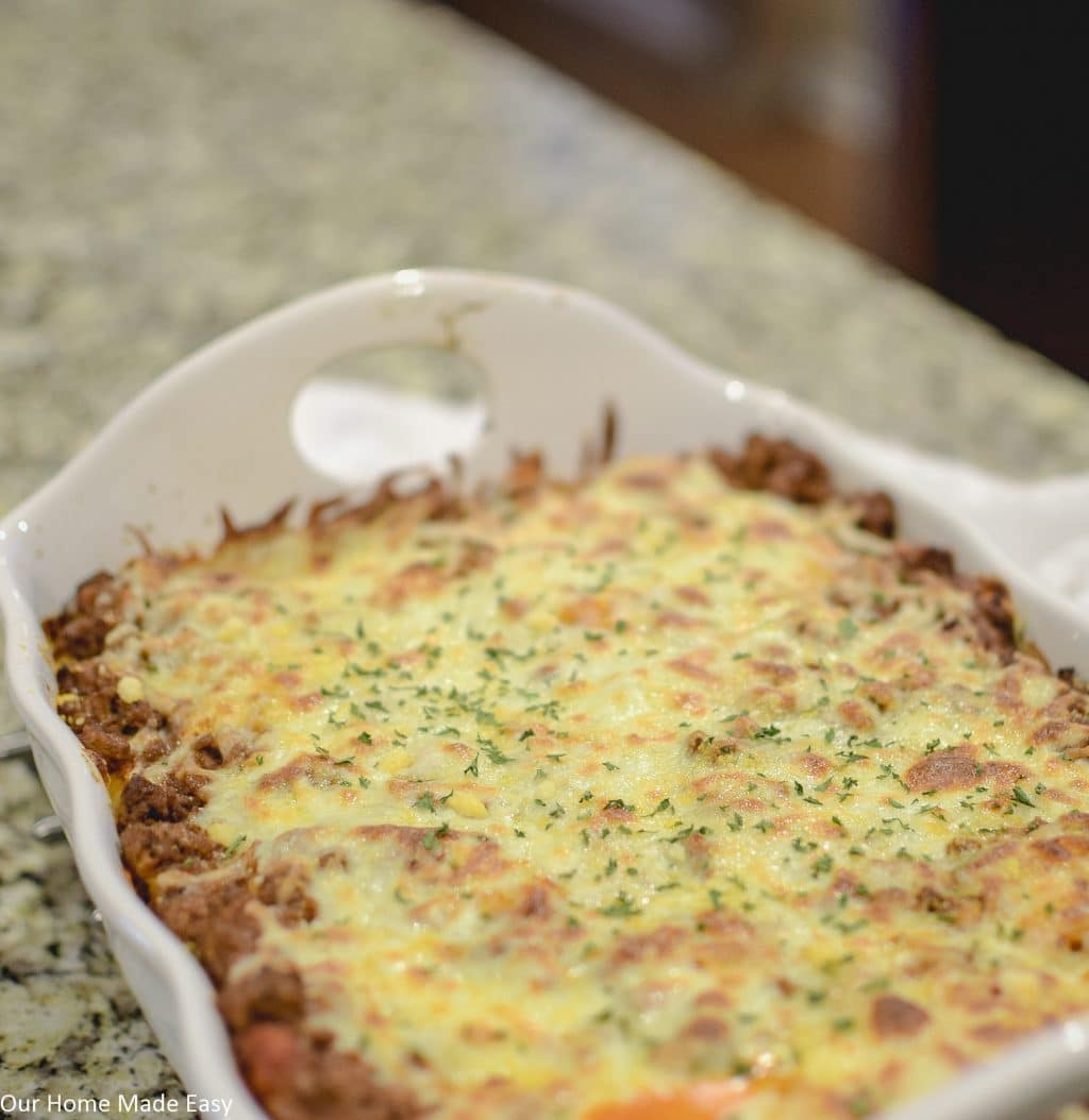 Easy Baked Cavatappi casserole is a quick dinner that makes enough for leftovers