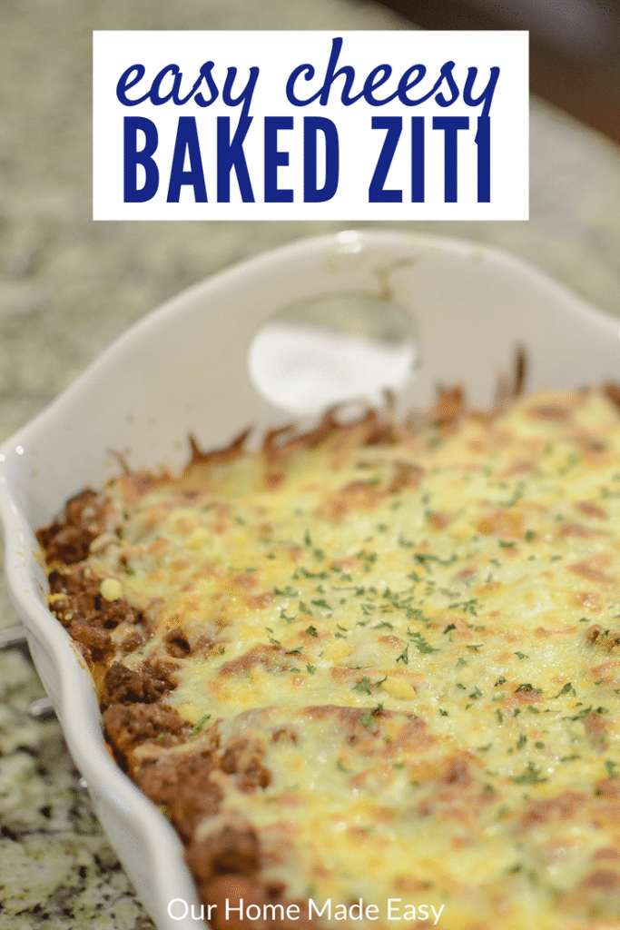 An easy baked ziti recipe that is a great Sunday night dinner!