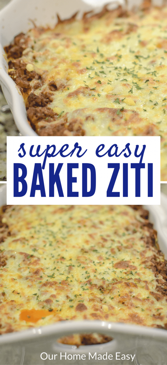 This a perfect Sunday night dinner! This easy baked ziti is super easy to make and feeds a large family! Click to see the recipe