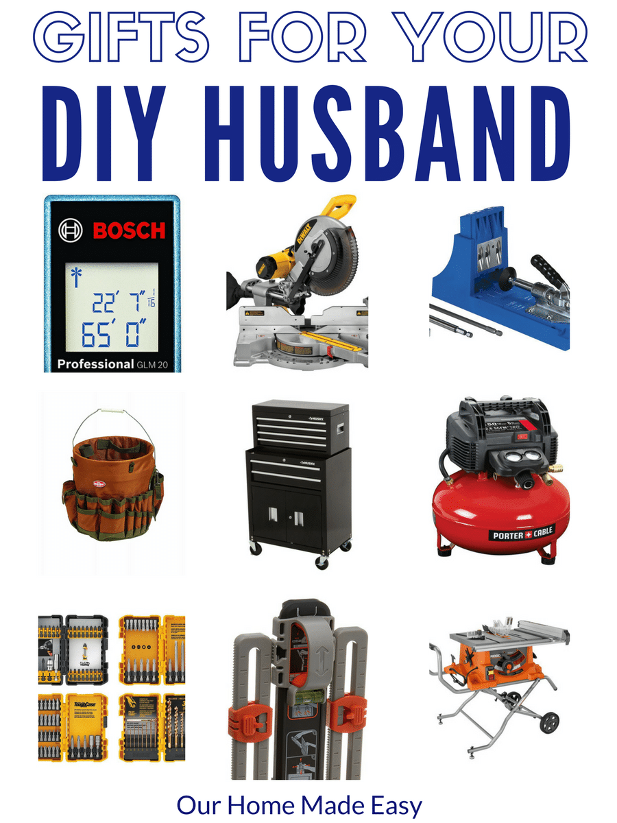 Need gifts for your DIY husband? These are some great options for building and improving around the house! See the gift ideas here!