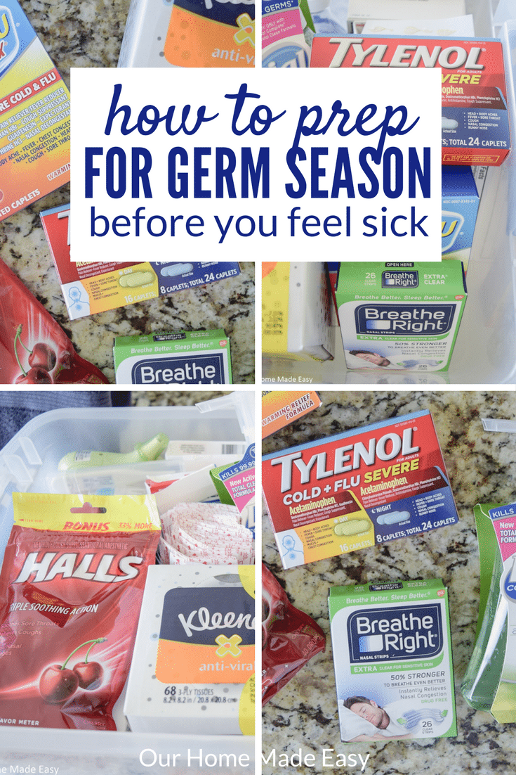 This is how busy parents can prep for germ season before getting under the weather themselves! Click to see which products are needed & how to organize them