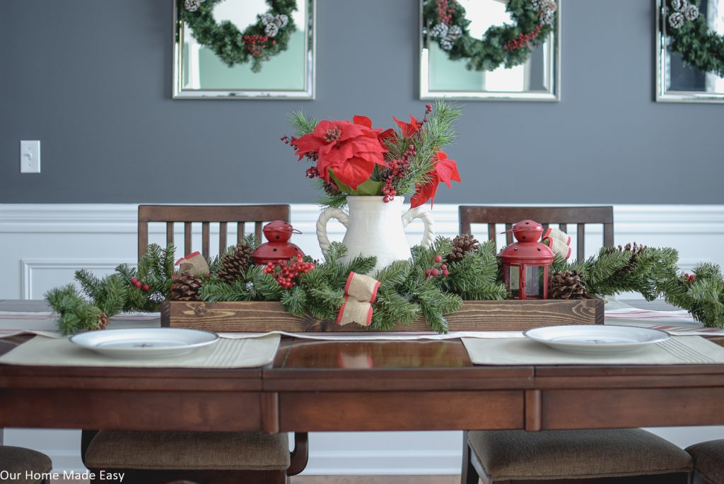 This wood serving tray is perfect for a holiday centerpiece