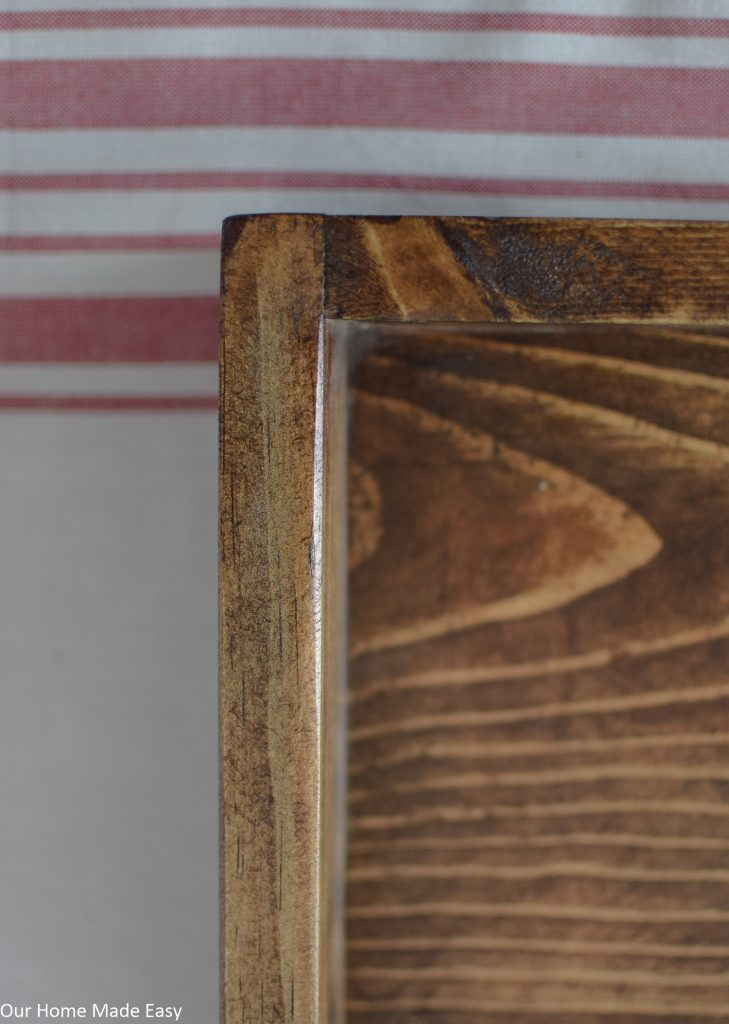 Clean corners of the wood serving tray