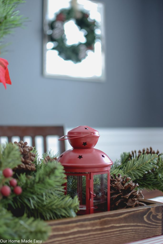 A simple DIY wood serving tray makes great centerpiece for holiday decor around your home