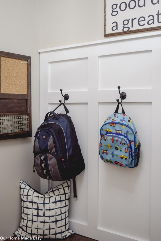 Keep backpacks off the floor with large hooks