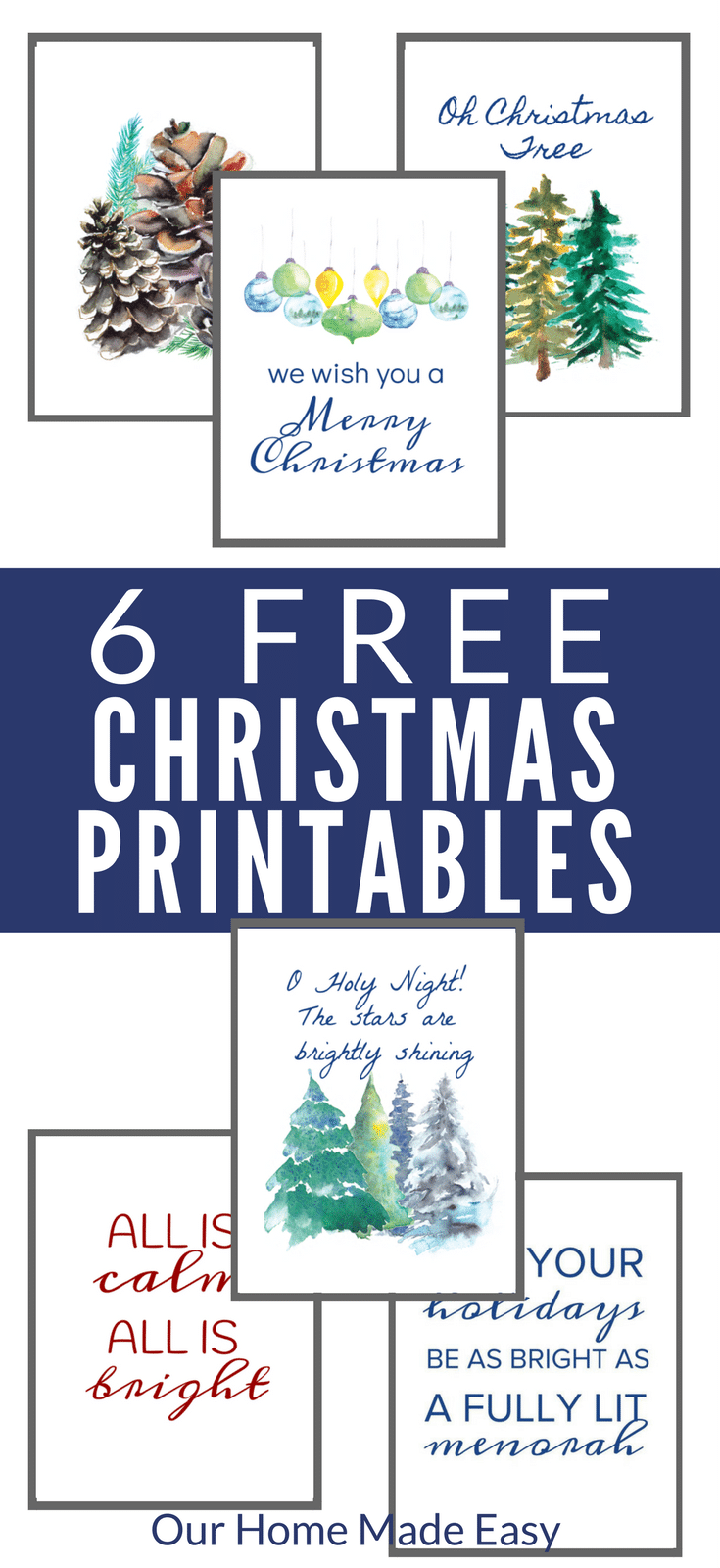 Here are 6 free Christmas printables for any last minute Christmas decorating! They are super cute. Print and hang!