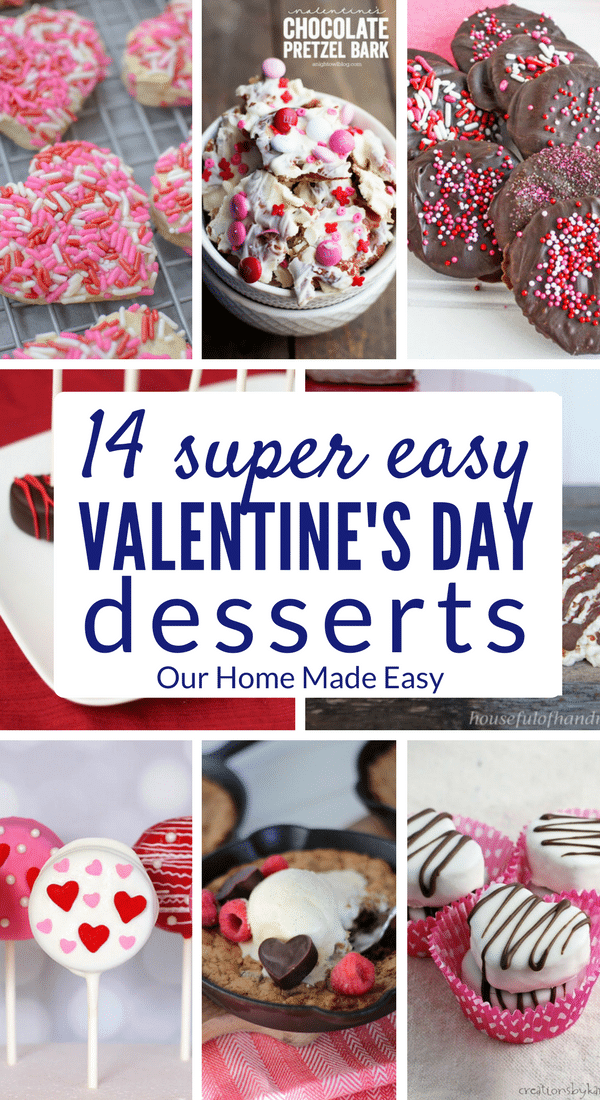 These 14 easy Valentine's Day desserts are perfect for the entire family! Make them quickly and serve just in time for Valentine's Day! Click to see all 14 easy Valentine's Day dessert recipes!