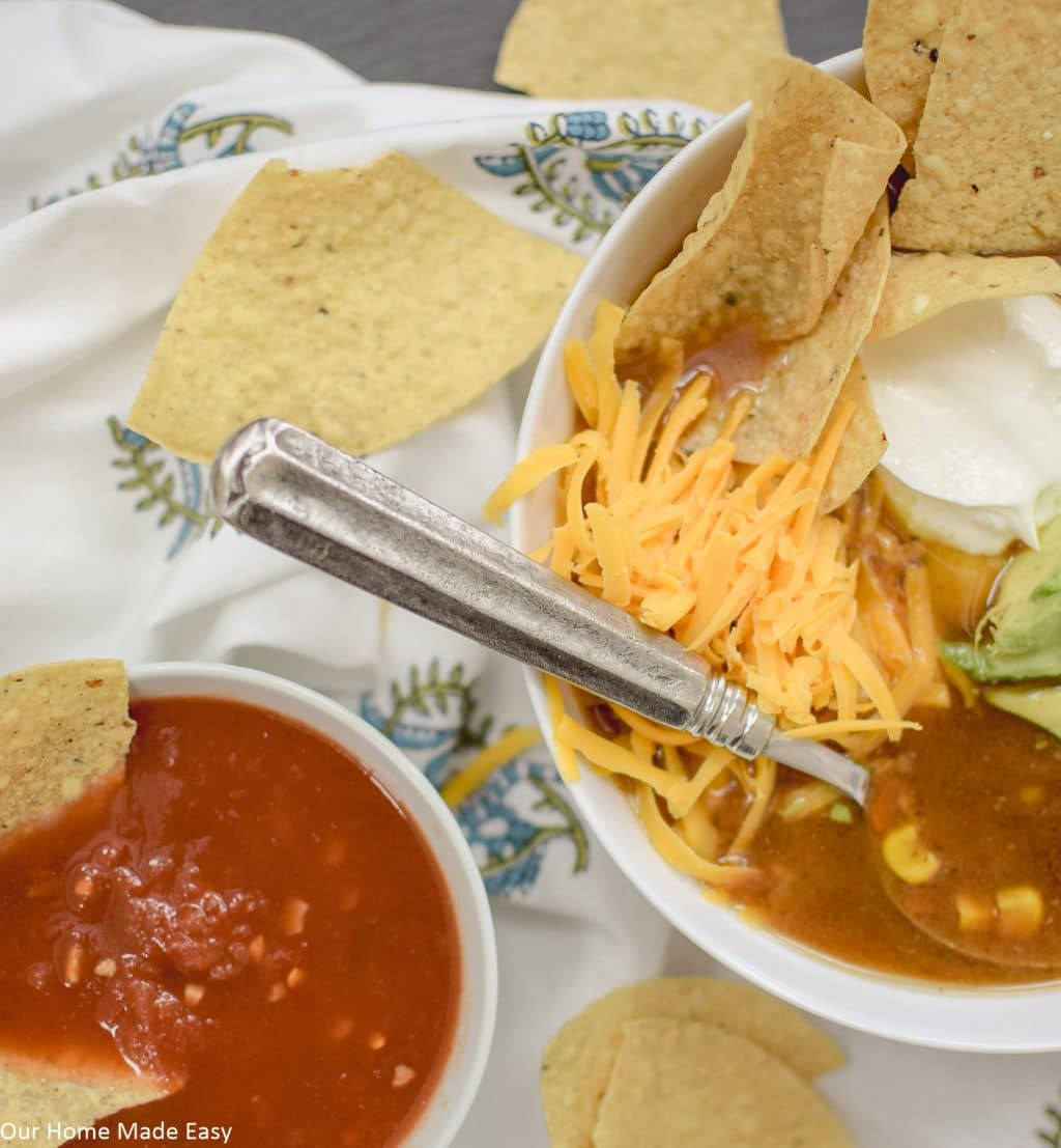 This easy slow cooker tortilla soup is perfect for a cold winter evening.