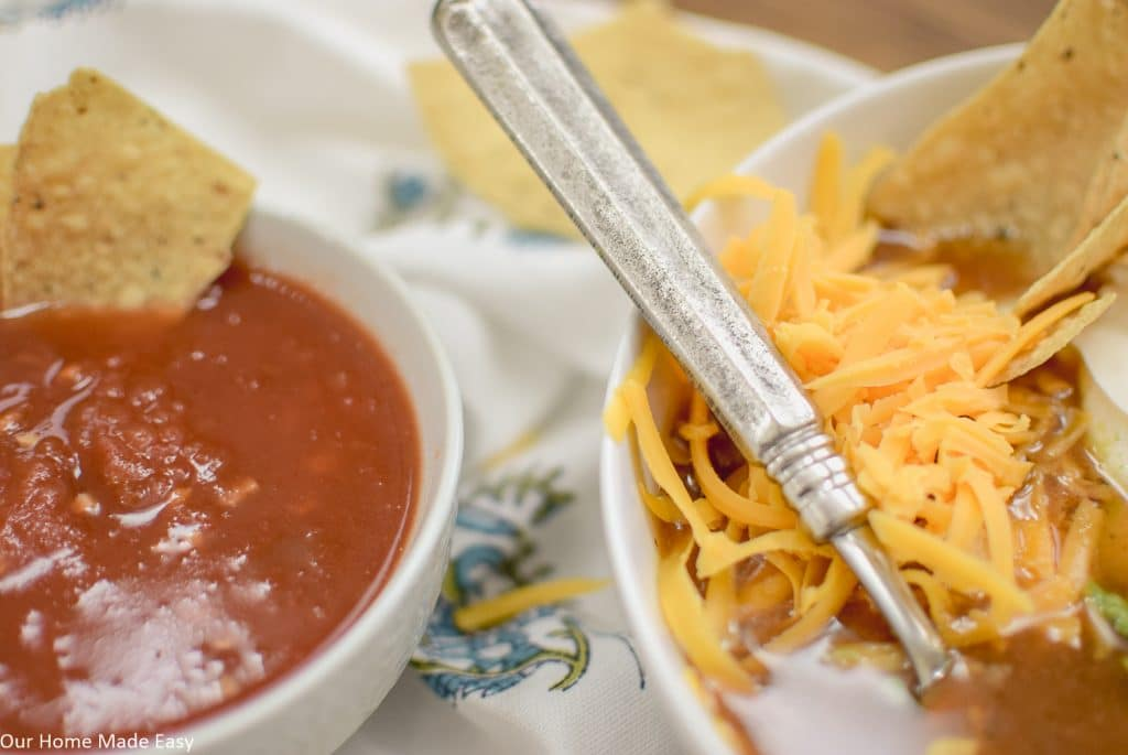 Serve this spicy tortilla soup with chips and salsa for a delicious, easy dinner