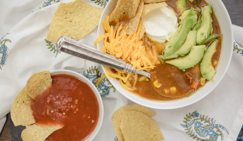 5 Ingredient Slow Cooker Tortilla Soup Recipe
