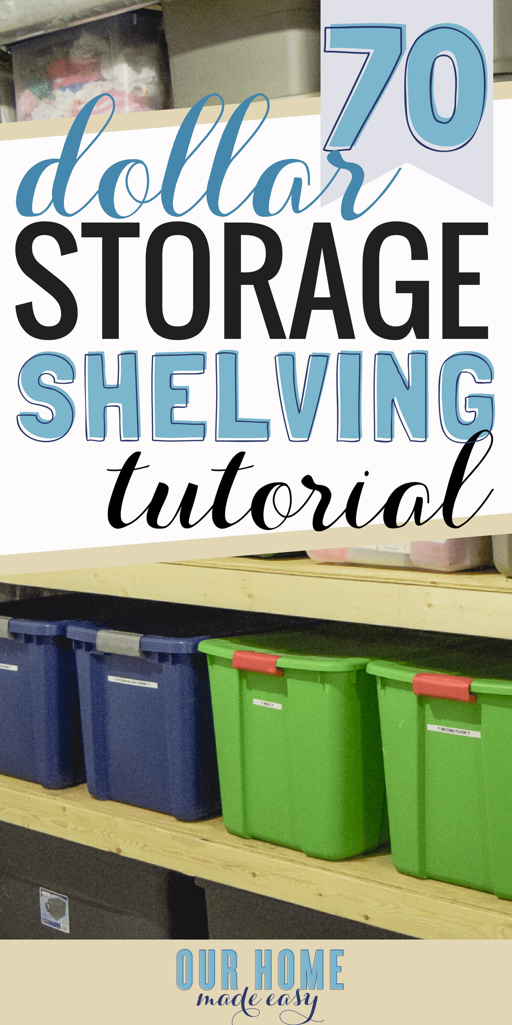 Organize your totes with this DIY storage shelving! And make them for a budget price. Click to see the tutorial for building your own tote shelves!