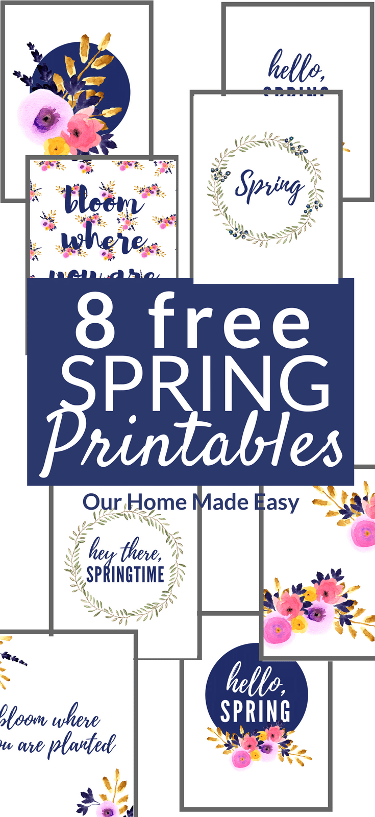 Download 8 free spring printables to decorate your home! They are all perfect for spring and are completely free. Click here to get those free prints!