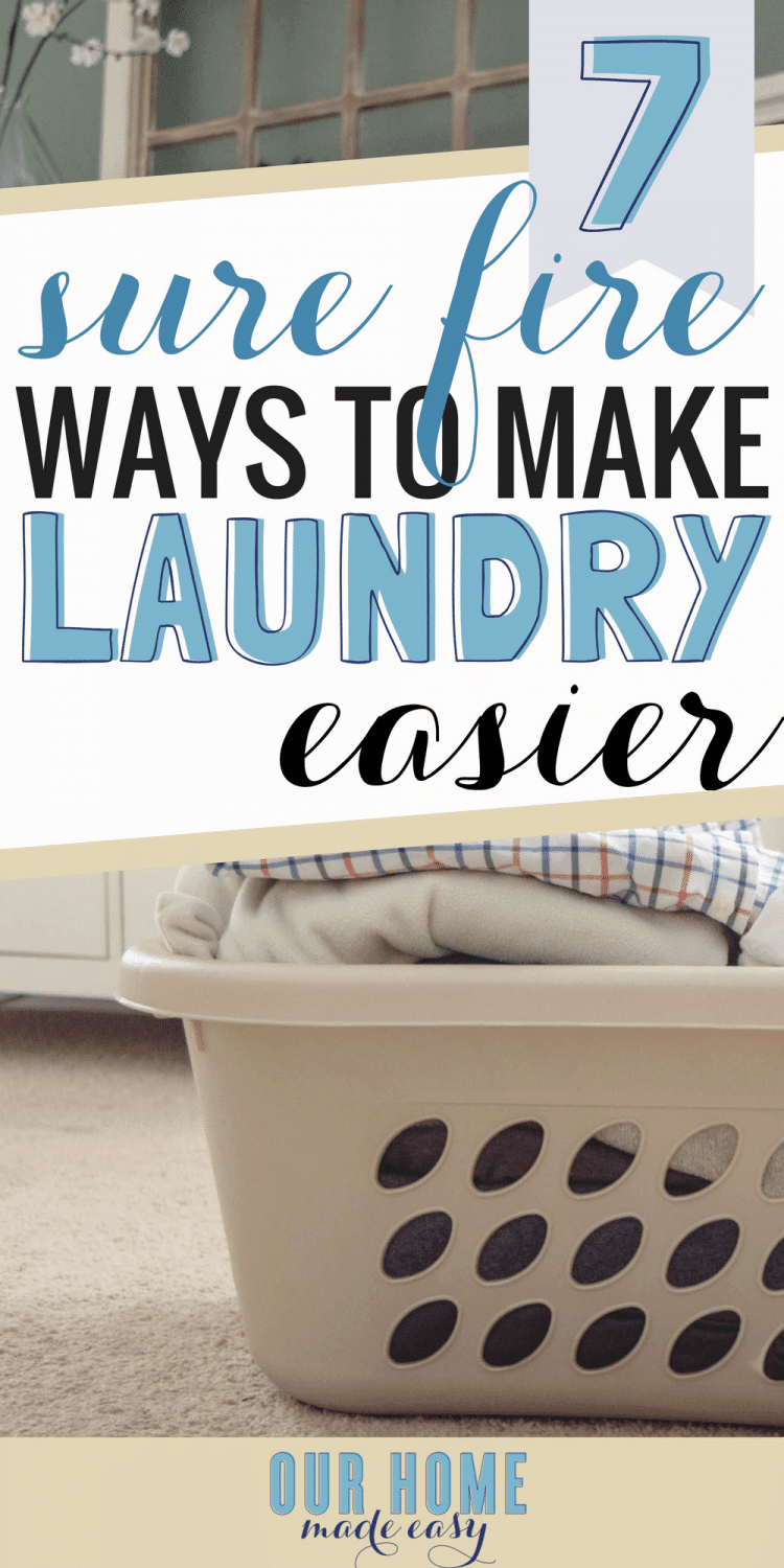 These 7 tips will help any busy family make laundry easier. Get organized with these tips to create a working system that works for your family! Includes a free laundry printable!