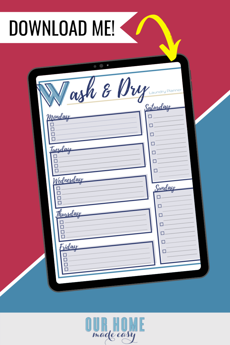Download our FREE printable weekly laundry planner