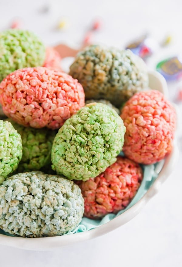 These colorful Easter Egg rice krispie treats are a fun take on a classic treat that's perfect for any Easter party