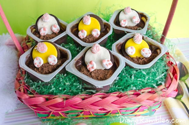 These Easter Bunny pudding cups are an easy semi-homemade Easter treat that you can whip together in just a few minutes