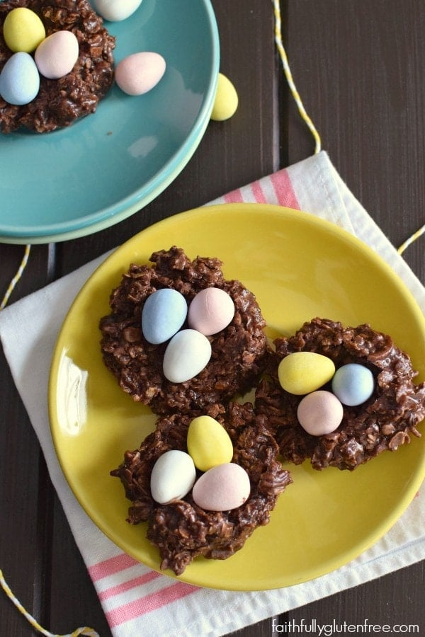 These chocolate Easter egg nest cookies are a gluten-free Easter treat that's easy to make