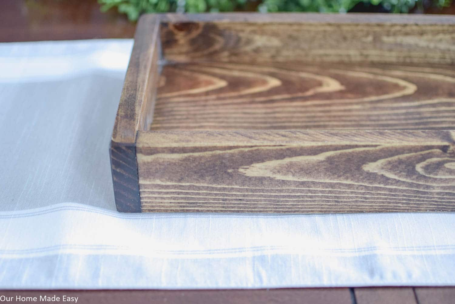 The base of this Spring centerpiece is a simple wood box. I chose one with a dark stain