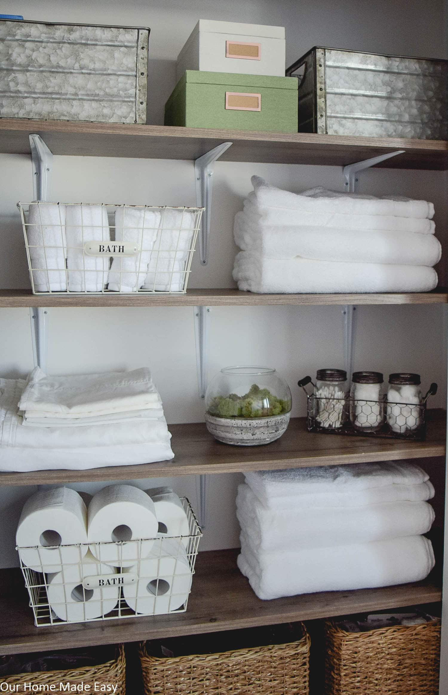 Organize the morning essentials like shower gear, towels, and more so your morning routine for school days is easy and foolproof