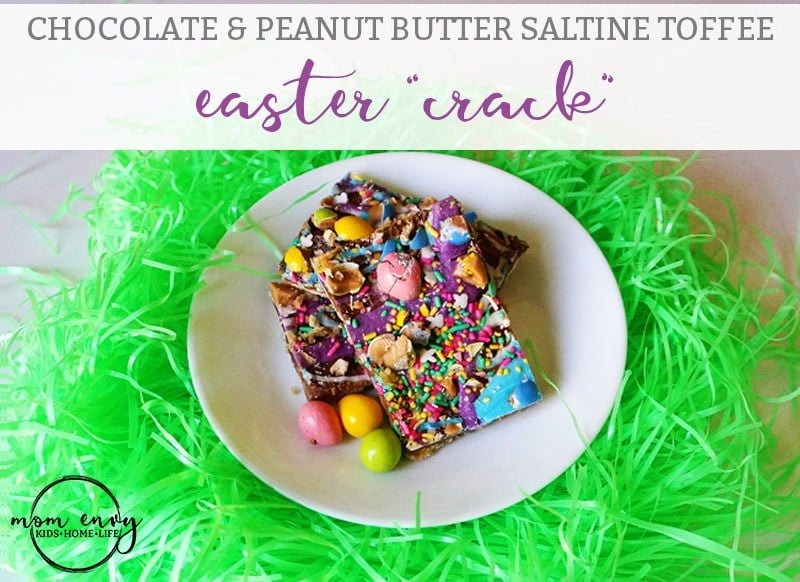 Chocolate and peanut butter toffee is made with saltine crackers, sweet chocolate, and sprinkles. It's a fun easter treat to make for the kids