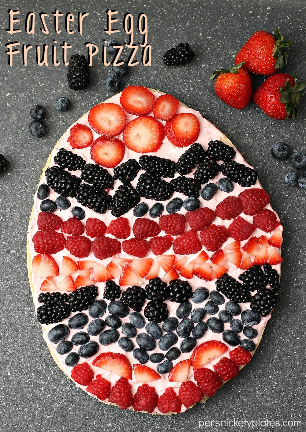 This Easter Egg fruit pizza is the perfect Easter treat for an Easter brunch!