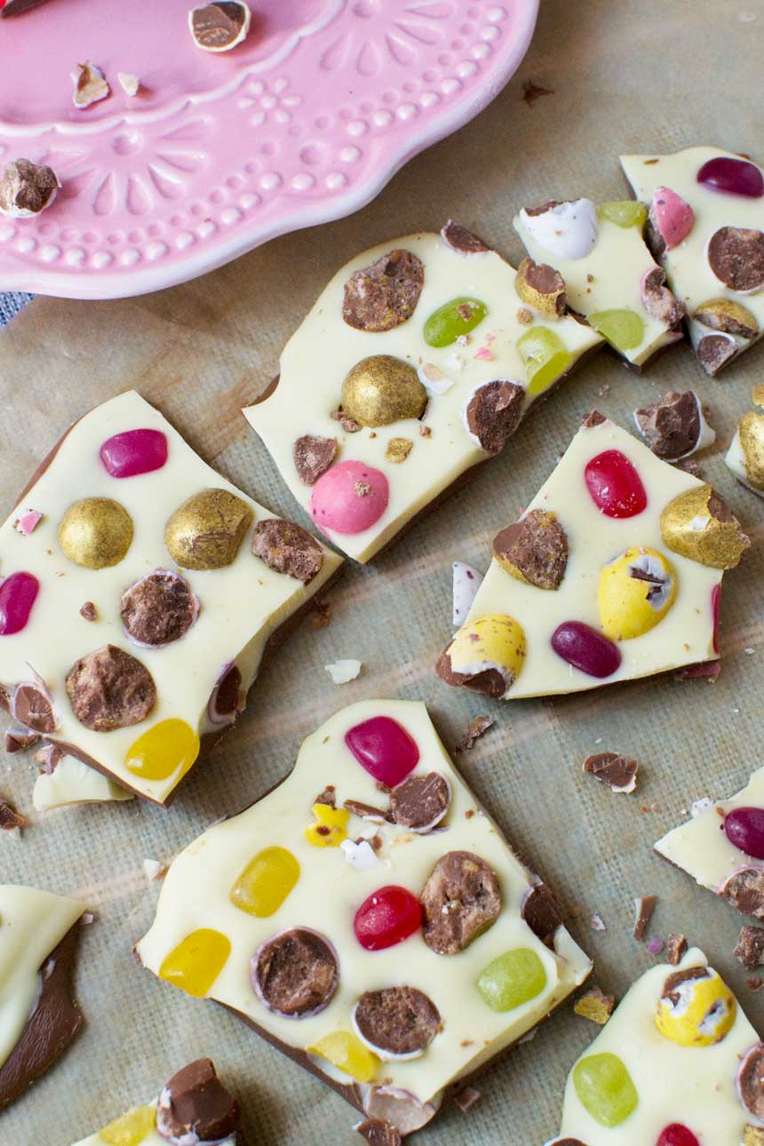 This chocolate bark is packed with candies like M&Ms and jelly beans--a perfect easy homemade Easter treat