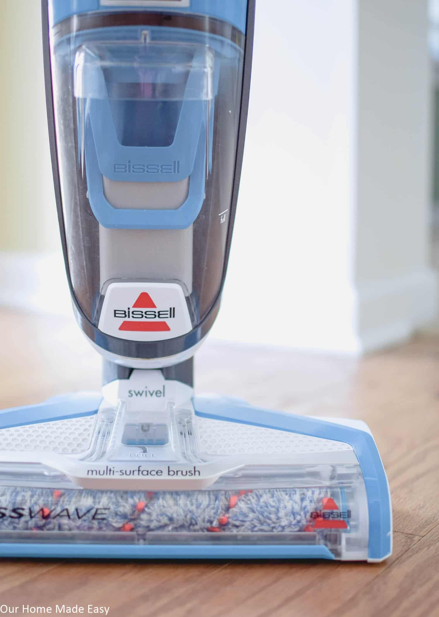 The Bissell CrossWave has a multi-surface brush that makes cleaning your floors really easy! It works on hardwood, tile, and carpet