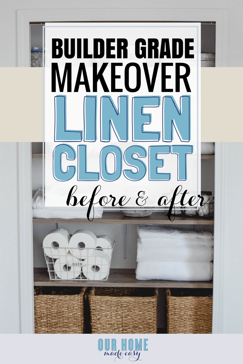 A DIY but custom shelving system for a linen closet makeover. Check out the organizational