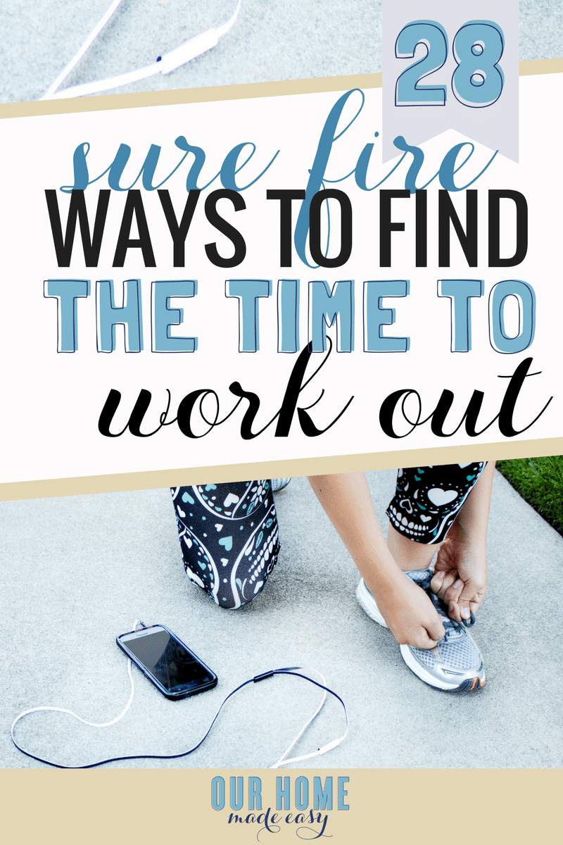 Making time for working out easier with these 28 tips & tricks! Even if you're a working mom, you still deserve some time to de-stress and find a routine that you actually enjoy. Click to see all the tips & tricks!
