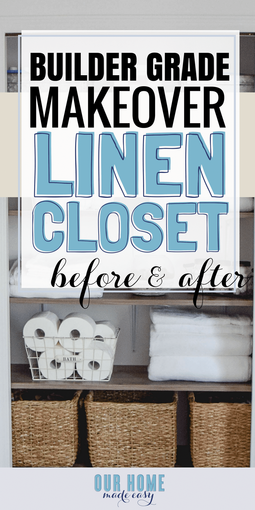 A DIY but custom shelving system for a linen closet makeover. Check out the organizational ideas and how to DIY your own shelves! #organization #linencloset #bathroomcloset #organized #declutter