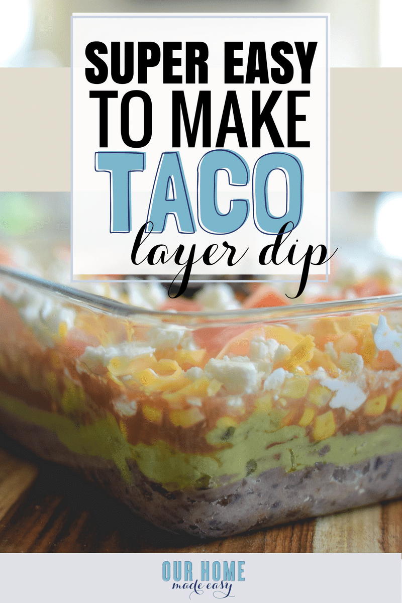 super easy 7 layer taco dip recipe that's perfect for parties