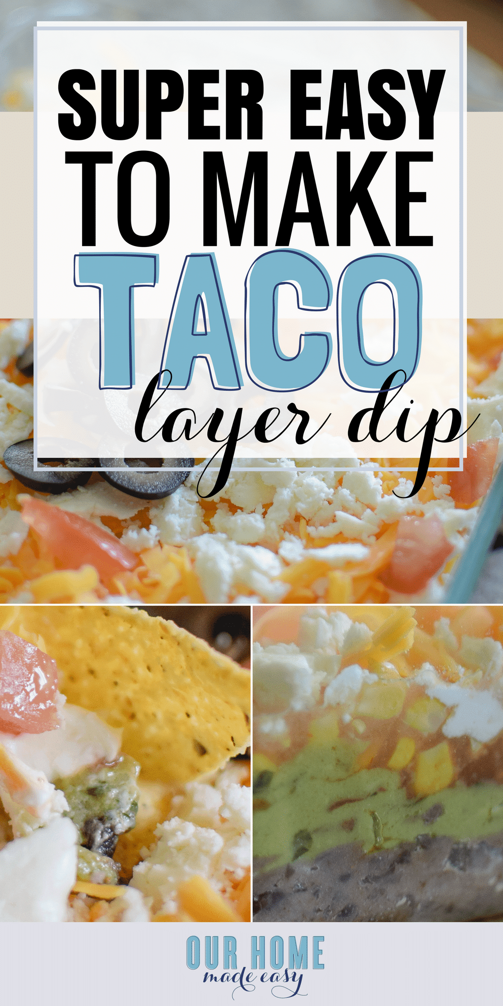 This quick & easy taco layer dip is perfect for your next party! Start with a simple base and keep adding layers of your favorite toppings. #appetizer #tacos #mexican #dips #sourcream #vegetarian