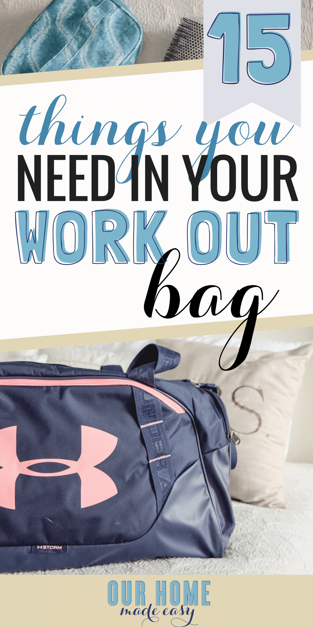 Running to the office after a work-out session? Don't miss these 15 must-haves for every gym bag! Click to see what you need to go from exercising to work easily! #momlife #workingout #exercise #gymbag #organization