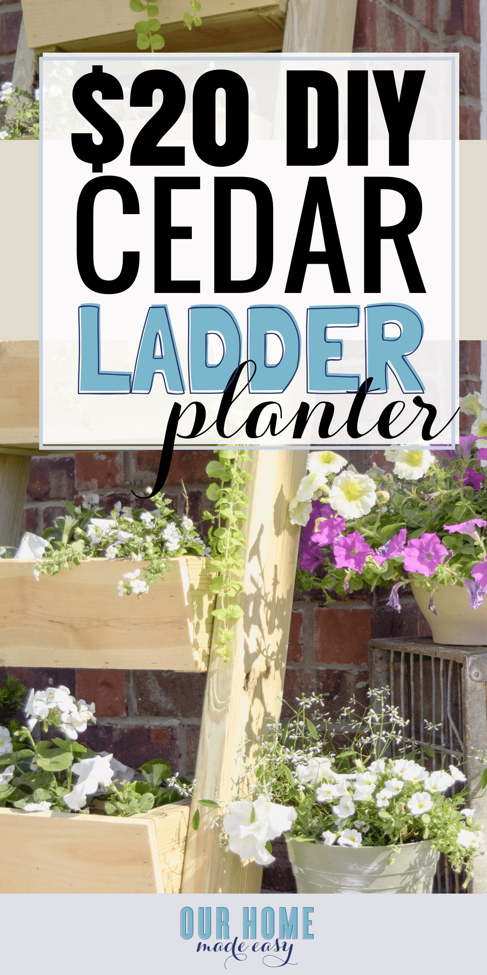 Make this super easy $20 cedar ladder planter! It's perfect for beginner projects and doesn't require many tools! Click to see our tips for building!