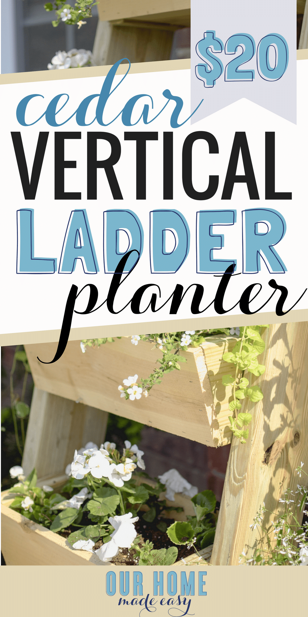 Make this super easy $20 cedar ladder planter! It's perfect for beginner projects and doesn't require many tools! Click to see our tips for building! #anawhite #diy #planter #flowers #home