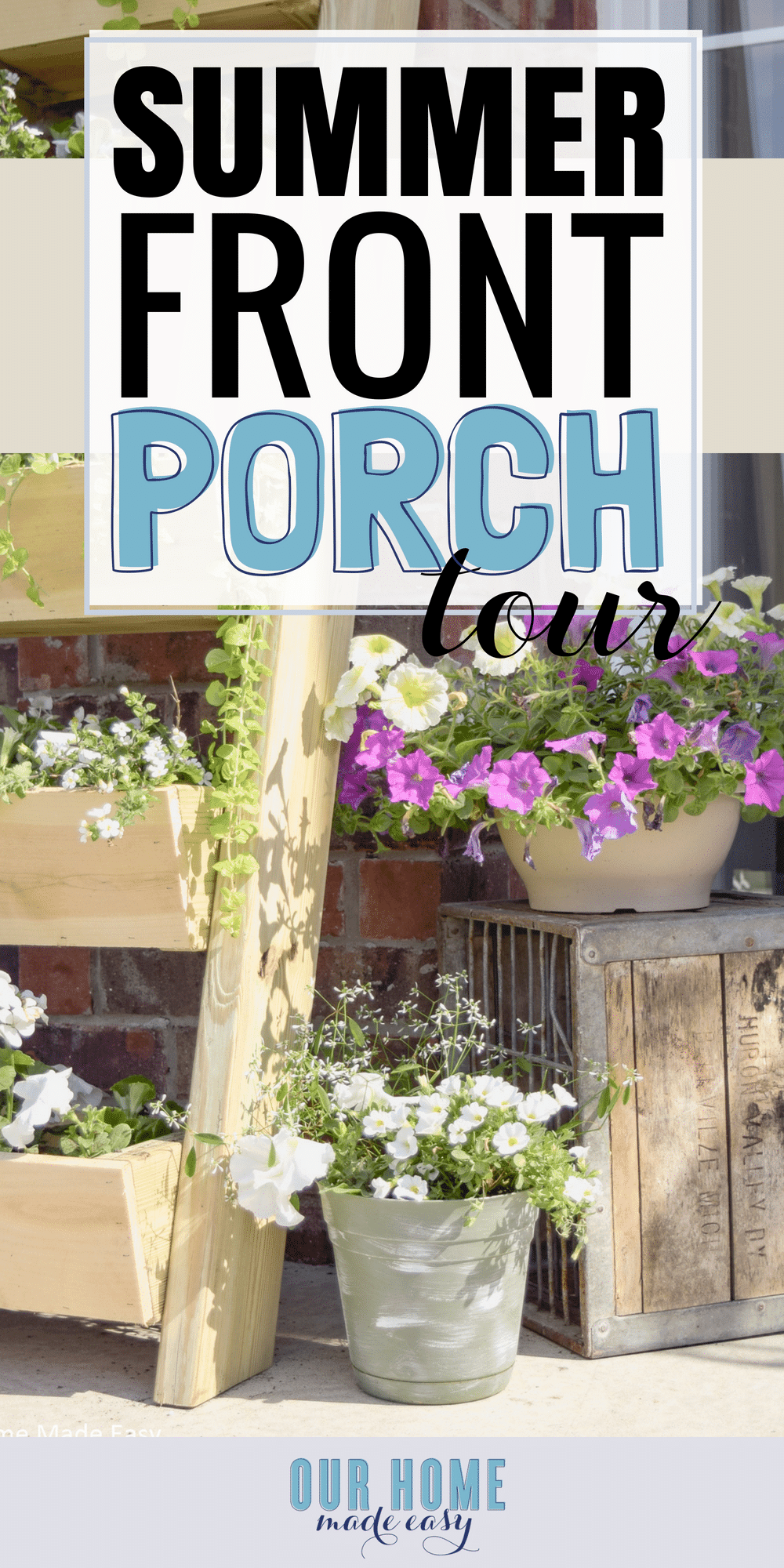 A budget friendly summer front porch inspired by easy DIY projects and simple flowers! #summer #frontporch #entry #homedecor #flowers
