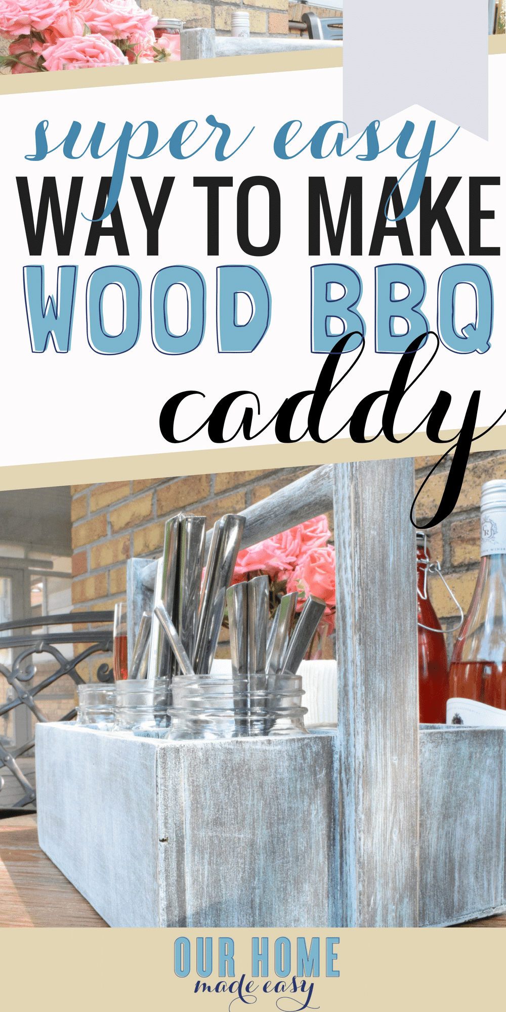 Make this DIY patio caddy for your just in time for your next BBQ or tailgate! It's perfect for combining function & style! Get all the steps here!