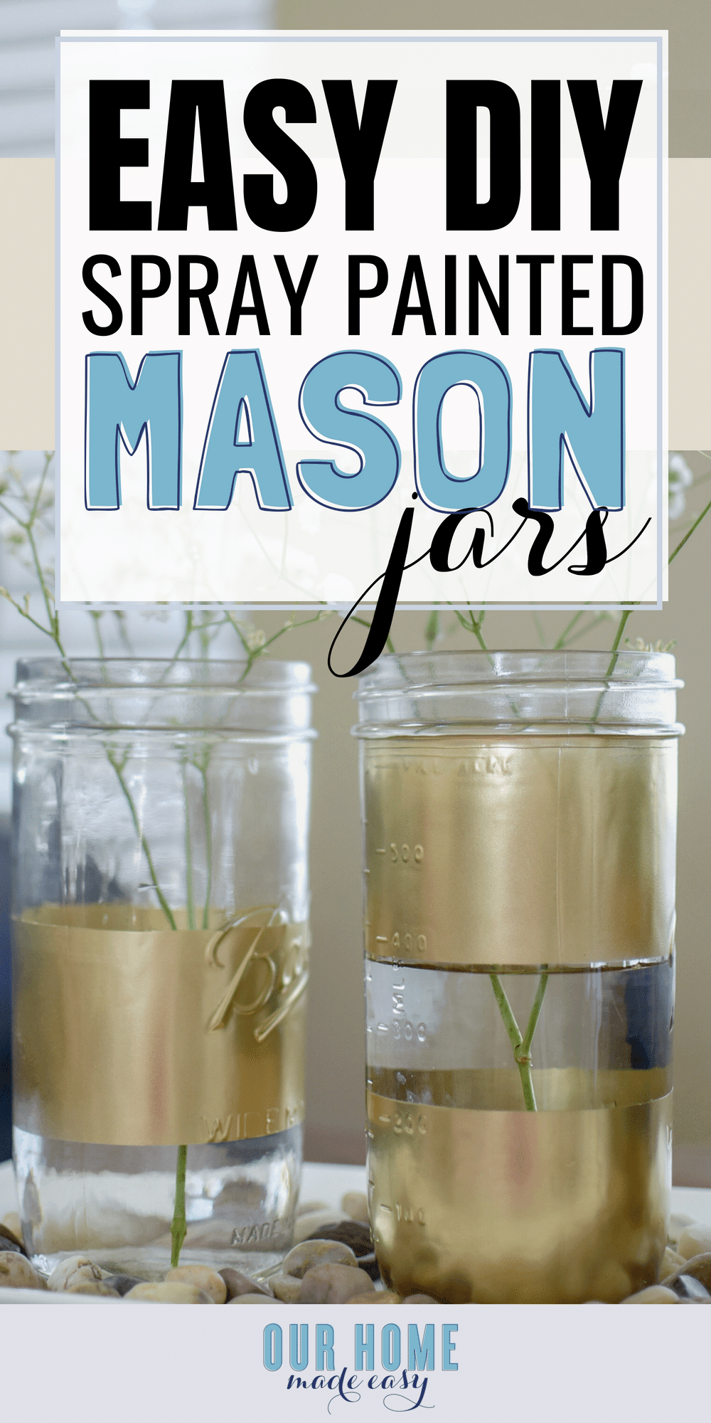 This quick project adds style-- without a big price tag! Spray painted mason jars are perfect for any season. #homedecor #painted #masonjars
