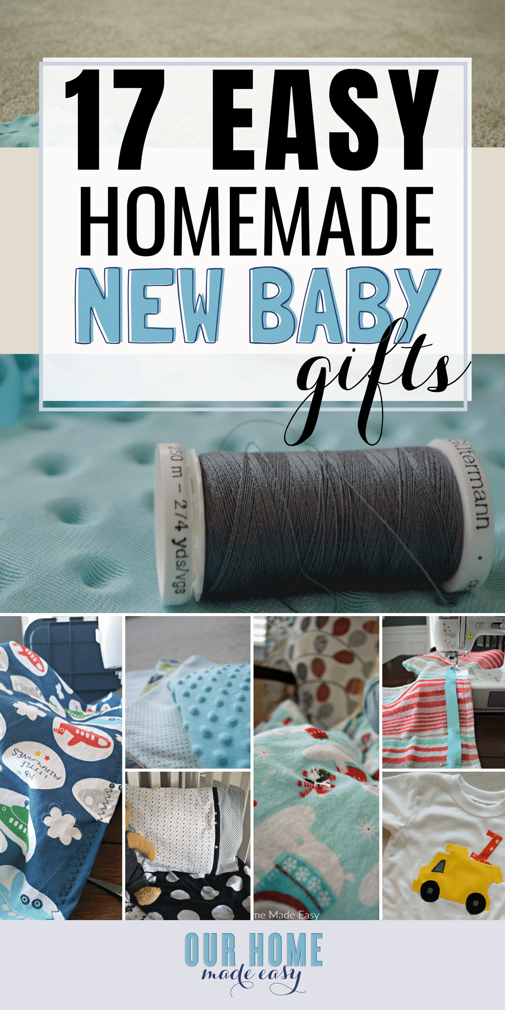 These easy homemade baby gifts are perfect for any new mom! You can DIY baby shower gifts quickly! #baby #newmom #sewing #newborn