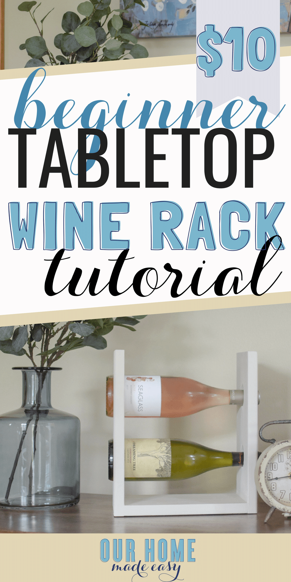This DIY wine rack is perfect for holding 2 bottles on a table top! Simply use your Kreg Jig and a few other tools to build it for just a few dollars!  #wine #DIY #home #winerack #homeproject