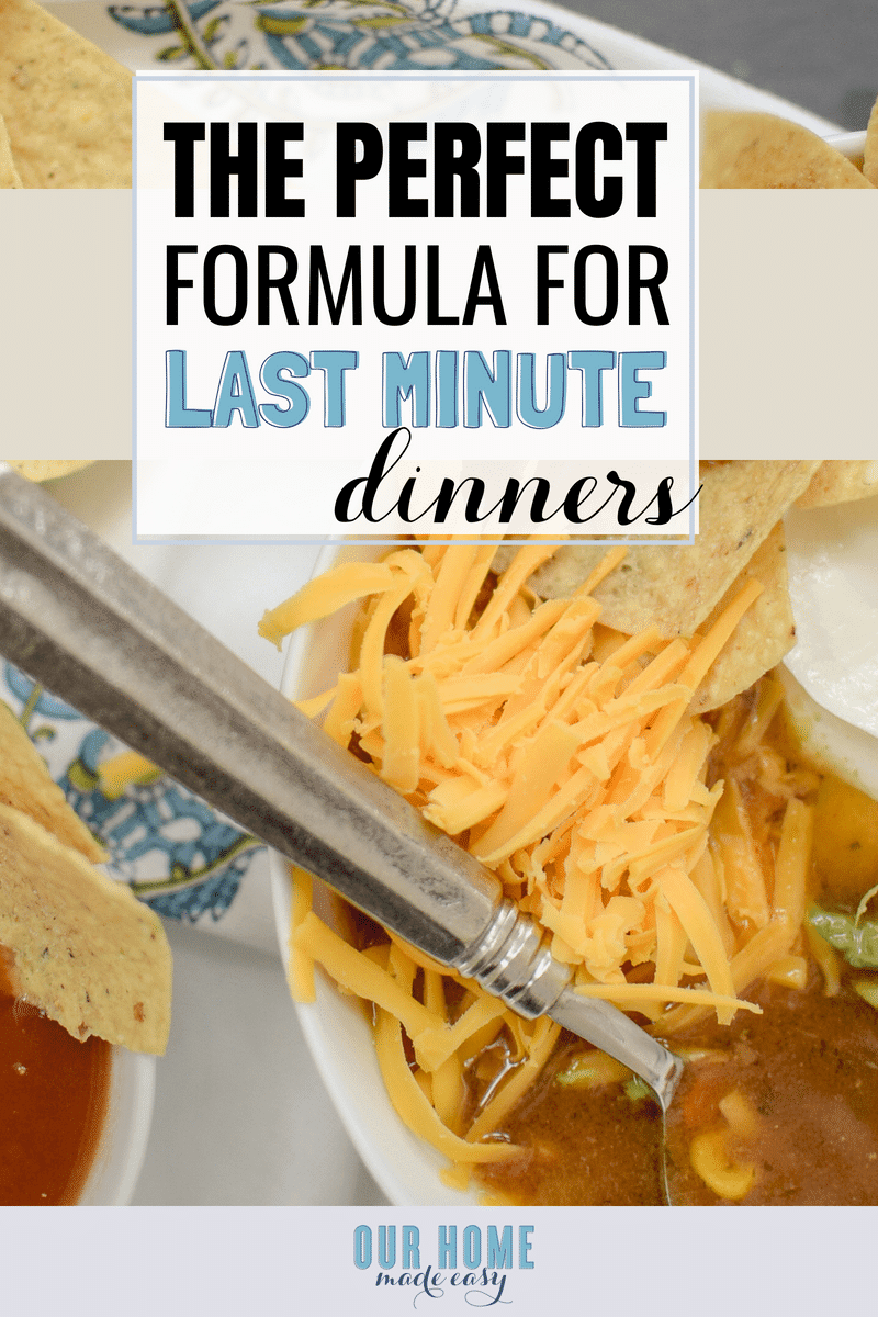Don't stress! This perfect formula for last minute dinner ideas will have you making dinner in no time! Includes a free pantry staples checklist!