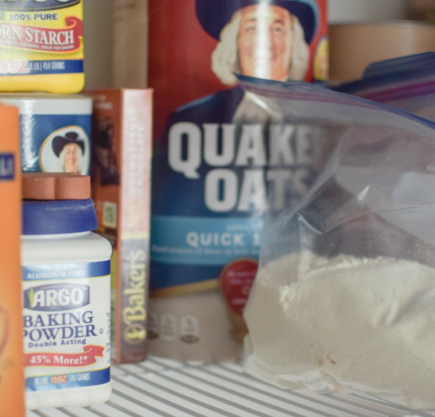 Baking powder, flour, and oatmeal are easy pantry staples you should always have on hand
